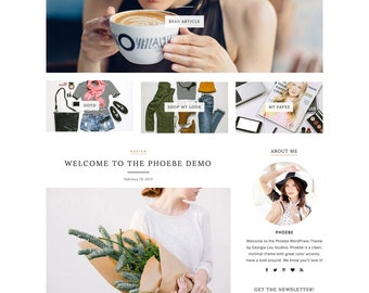 """WordPress Theme - Responsive, Simple, Minimal - """"Phoebe"""" for WordPress - Woocommerce - Customizable and Clean - Instant Download - Fashion"""