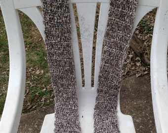 crocheted white/grey/brown multi colored scarf