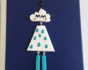 Fimo long pendant. Naughty little cloud