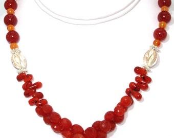 BN110- Elegant Red Carnelian, Orange Carnelian, and fancy Silver bead necklace