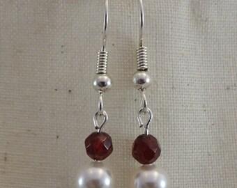 Garnet (grade AA) and Swarovski Pearl Earrings