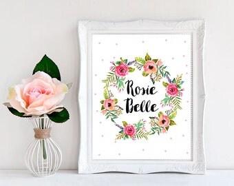 Printable Nursery Art, Girl Nursery Decor, Name Sign For Nursery, Baby Name Wall Art, Nursery Name Sign, Custom Name Sign, Baby Girl Gift