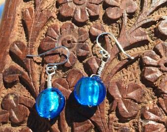 Artist Blue Glass Bead Bracelet and Earring Set