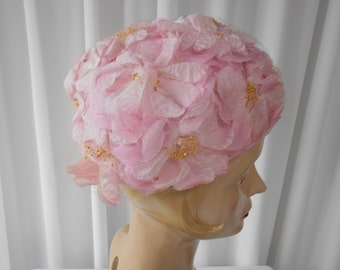 Vintage Hat with Pale Pink Layered Flowers Under Net - 1960's  #20039