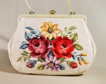 Vintage Original 30ties Embroidered Beige Flower Bag, Handbag, Wristpurse, Evening Bag