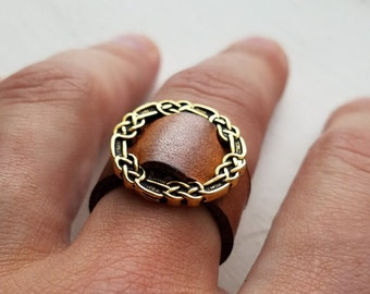 Celtic Knot Pewter Leather Ring with / 3rd anniversary / 9th anniversary / 10th anniversary gift