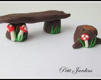 Fairy Garden Bench,Miniature Garden Accessory, Bench and Stool.