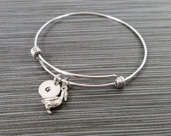 Pelican Bangle - Pelican Charm Bracelet - Expandable Bangle - Charm Bangle - Pelican Bracelet - Initial Bracelet - Bird Bracelet