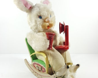 Vintage Modern Toys Telephone Bunny Rabbit in Tin Rocking Chair. Made in Japan. Vintage Tin Toys, Plush Bunny. Vintage Children's Toys.