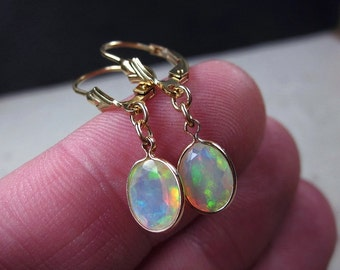 Opal Earrings, Opal Jewelry, October Birthstone, Fire Opal Earrings, White Opal Earrings, Drop Earrings, Elegant Earrings, Dangle Earrings