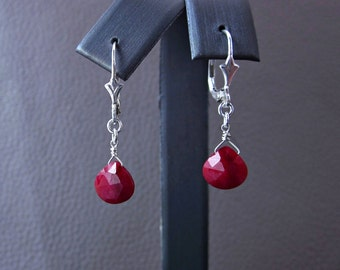 Ruby Earring, July Birthstone Jewelry, 40th Anniversary Gift, Ruby Jewelry, Dangle Earring, Teardrop Earring, Gemstone Earring, Gift for Her