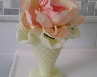 Fenton Hobnail Custard Pastel Yellow Milk Glass Double Crimp Vase