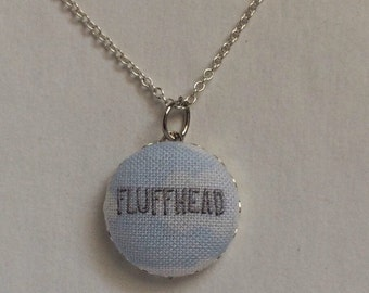 Phish pendant fabric button necklace //  Fluffhead