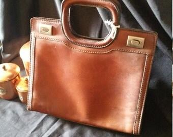 French 1950s Vintage Leather Handbag