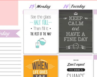 set of 8 Inspirational Quotes Set 3 Full Boxes Stickers To Use With Erin Condren Planner