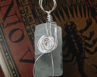 Sea Green and Silver Fluorite Pendant