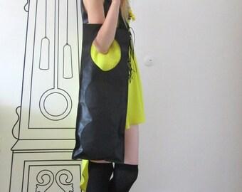 FREE SHIPPING / Extravagant Bag / Leather Black Bag / Gift Idea / Black bag by FabraModaStudio / A902