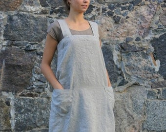 Loose linen pinafore, Linen Square cross apron, old fashioned apron, casual apron, linen tunic, linen apron dress / flax apron