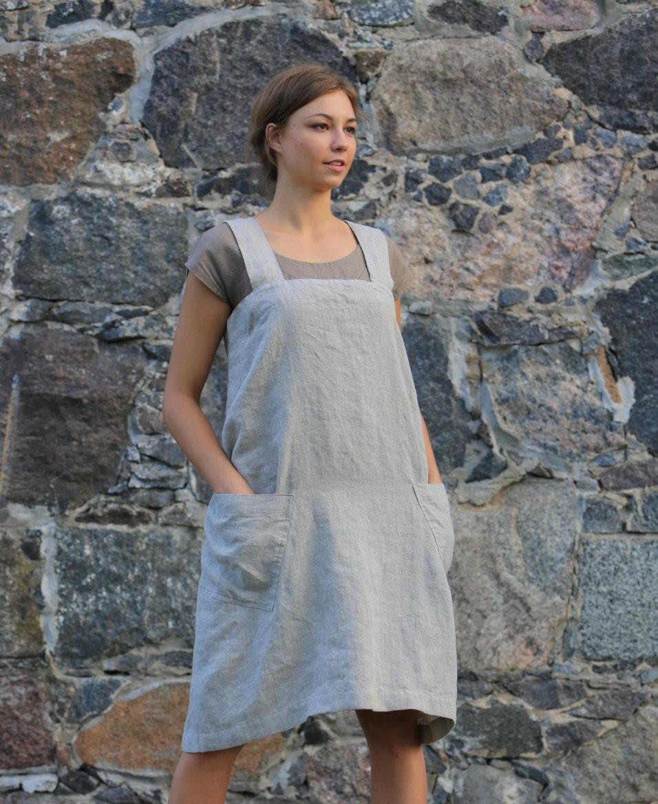 White pinafore apron nurse - Loose Linen Pinafore Linen Square Cross Apron Old Fashioned Apron Casual Apron Linen Tunic Linen Apron Dress Flax Apron
