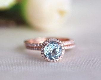 Round Aquamarine Diamond, Halo Engagement Ring, Rose Gold Art Deco, Wedding set,  Aquamarine Wedding set, Diamond, Rose Gold, Halo Diamond