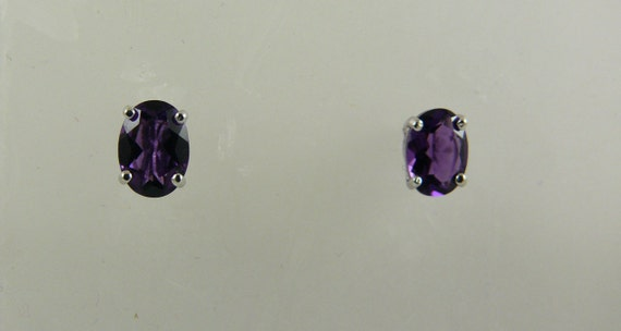 Amethyst 1.40ct Stud Earring with 14k White Gold Post and Push Back
