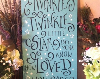 "Wood sign Twinkle Twinkle Little Star 12"" x 24"" wood wall art baby wall decor inspirational sign child's room wall art"