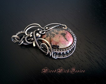 Rhodonite pendant, wire wrapped pendant, oxidized sterling silver pendant, jewelry wire wrap, silver wrapped Rhodonite