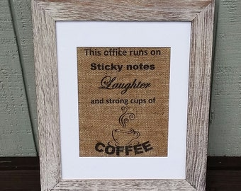 rustic office decor. coffee sign office this runs on burlap shabby chic home rustic decor