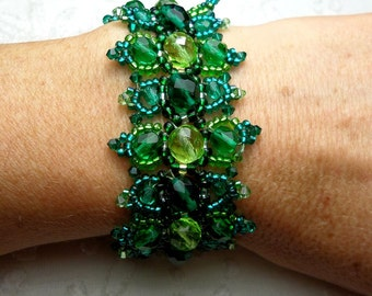 Designer Cuff Bracelet embroidered couture peridot and emerald green Czech glass beads