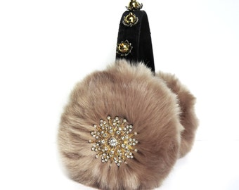 Sand earmuffs/Chanel 3 scream queens inspired faux fur ear muffs/ embellished earmuffs/bling/jewelear warmers/plush earmuffs/fluffy earmuffs