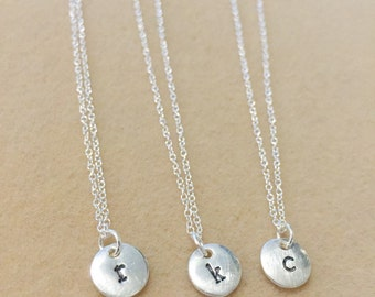 Monogram Necklace, Sterling Silver Necklace, Stamped Initial Necklace, Delicate Monogram Necklace, Gifts for Her