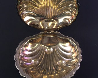 Vintage Silver Plate Clamshell Serving Dish