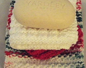 Holiday Hand Knitted Hand Towel and Wash Cloth Gift Set 100% Cotton with Luxury Soap