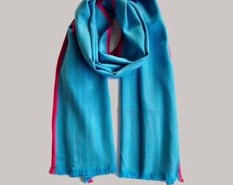 Silk Cotton Scarf in Blue