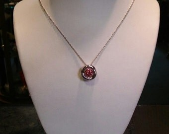 Sterling Silver Pink Ice Motion Pendant Necklace