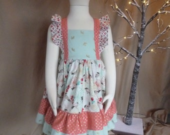 Square Flutter Dress/Matilda Jane Style Dress/Girl's Homemade Dress/Summer Dress/Spring Dress/Homemade Dress