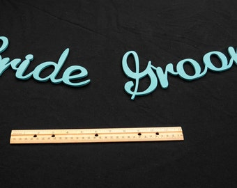 Bride and Groom cutout lettering