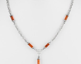 Amber Cylinders on Silver Chain Necklace