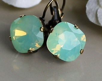 Turquoise Earrings, Pacific Opal Swarovski crystal earrings set in beautiful gold tone antique bronze