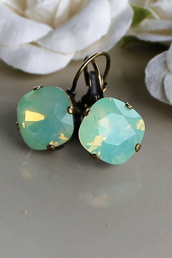 12mm Cushion Cut Swarovski crystal earrings - in Pacific Opal-set in beautiful gold tone antique bronze