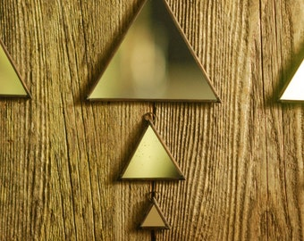Triangle Wall Mirror Made With Recycled Vintage/Antique Glass Mirror | Geometric Mirror | Pyramid Mirror | Polygon Mirror