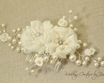 Silk Flower Hair Comb with Vine, Ivory Chiffon Silk, ivory hair flower, silk flower hair comb, bridal hair vine, wedding hair accessories