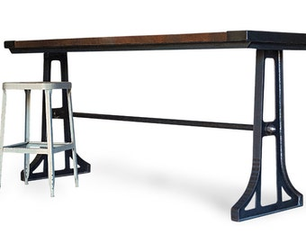 Industrial Wood Gathering Table, Counter Height Kitchen Bar Table