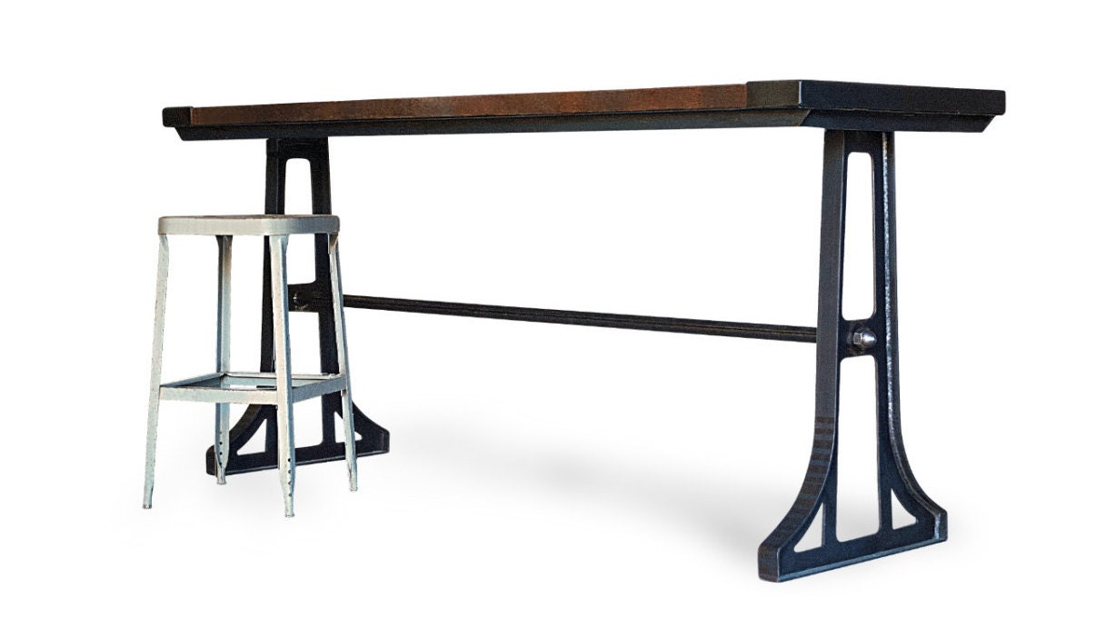 Counter Height Industrial Table : Industrial Wood Gathering Table Counter Height Kitchen Bar