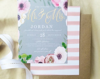 Floral, Rustic, Boho, Engagement, Bridal Shower, Couples Shower Invitation, Printable