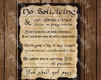 """Lord Of The Rings No Soliciting Sign - 14"""" x 11"""" (New Layout)"""