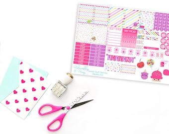 Teenies-Personal Size Kawaii Sweet Stuff Cupcakes & Candy Weekly Planner Sticker Kit for Kikki K, Color Crush or Most Personal Planners.