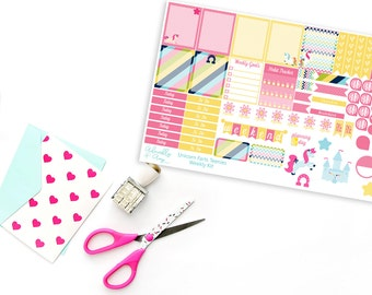 Teenies-Personal Size Unicorn Farts Weekly Planner Sticker Kit for Kikki K, Color Crush or Most Personal Planners.