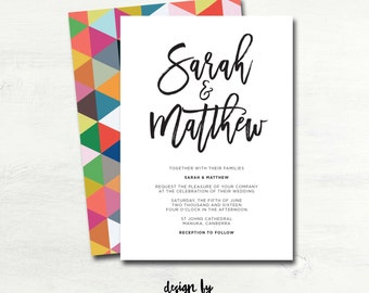 Custom Wedding Invitation (Printable, Geometric, Colourful, Triangles Design)