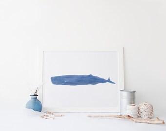 Whale Printable Art, Blue Whale Wall Print, Ocean Wall Decor, Nautical Wall Art, Beach Home Decor, Blue Coastal Decor, Whale Nautical Print
